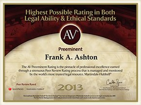 AV Preeminent Rating 2013 - Frank Ashton